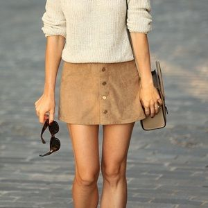 [Express] Faux Suede Tan Skirt